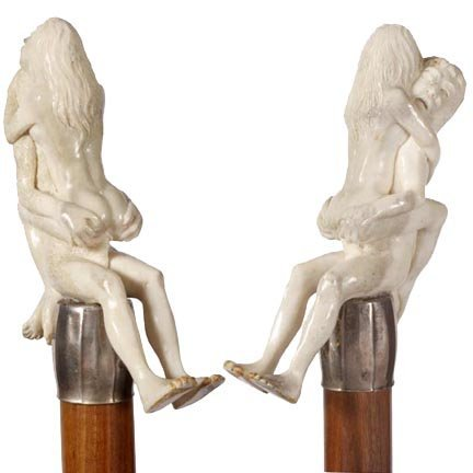 13: Erotic Carved Bone-Mid 20th Century-An erotic carvi