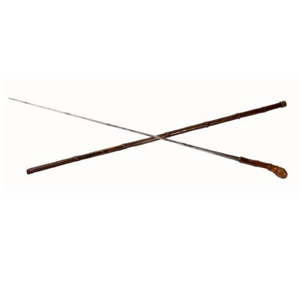 15: Solingen System Cane-C. 1880-A bamboo sword cane wi