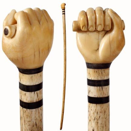 17: Nautical Fist-C. 1860-A carved fist with baton whic