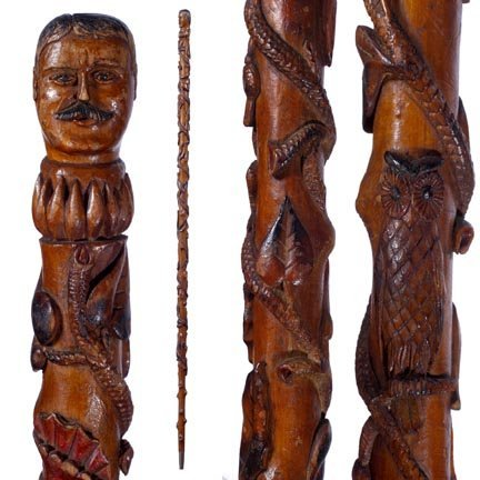 4: Roosevelt Folk-C. 1925-A fully carved shaft with var