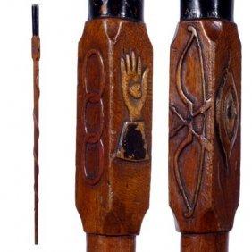Odd Fellows Folk-C. 1900-A Finely Carved Lodge Cane