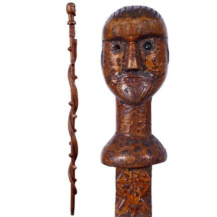 10: Primitive Man with Snake-C. 1899-A wonderful 19th C