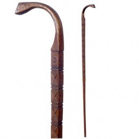 Lodge Cane-C. 1935-A Very Well Carved One Piece Can