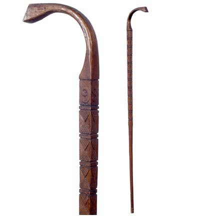 14: Lodge Cane-C. 1935-A very well carved one piece can