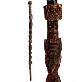Snakes Folk Art-C. 1920-A One Piece Carved Cane Wit