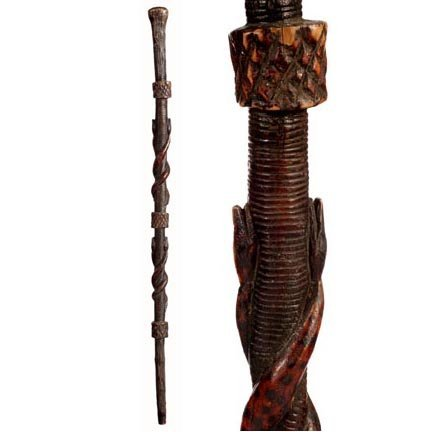 20: Snakes Folk Art-C. 1920-A one piece carved cane wit