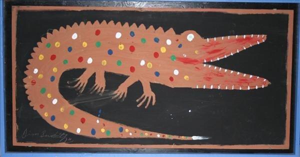 "1001: Outsider Art- Jimmy Sudduth ""Alligator"", paint an"