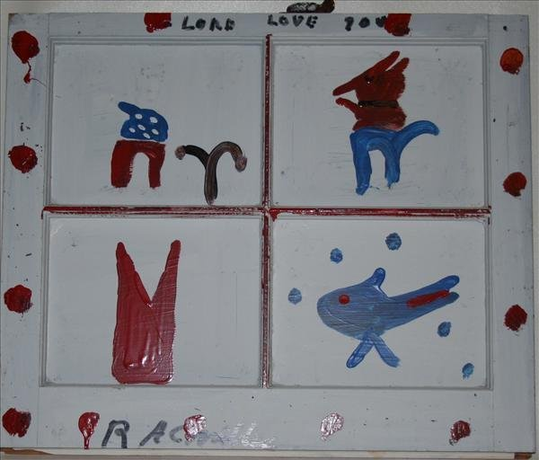"""1002: Outsider Art- R.A. Miller """"Lord Love You"""", paint"""