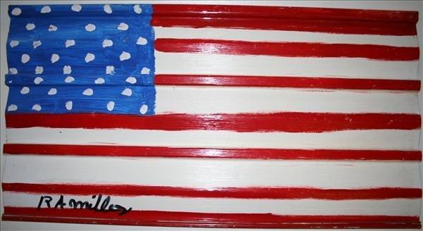 """1005: Outsider Art- R.A. Miller """"Flag"""", paint on vinyl,"""