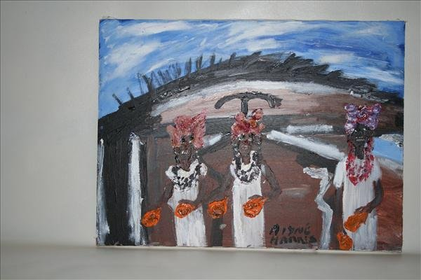 """1007: Outsider Art- Alyne Harris """"African Girls"""" paint"""