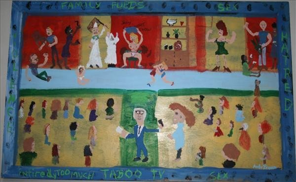 """1009: Outsider Art- Andy Brown """"Family Feuds"""" paint on"""