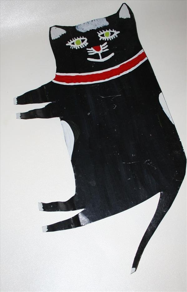 """1011: Outsider Art- R.A. Miller """"Black Cat"""" paint on ti"""