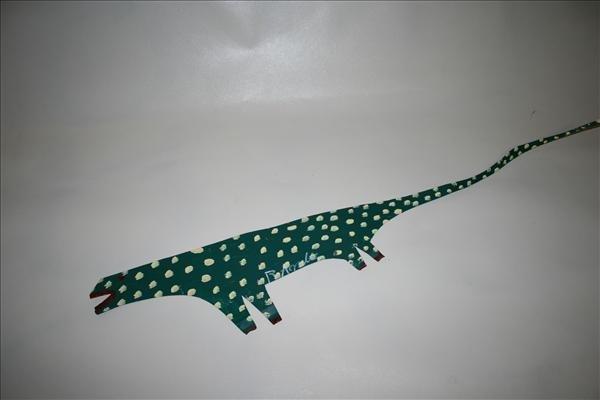 """1012: Outsider Art- R.A. Miller """"Green Lizard"""" paint on"""