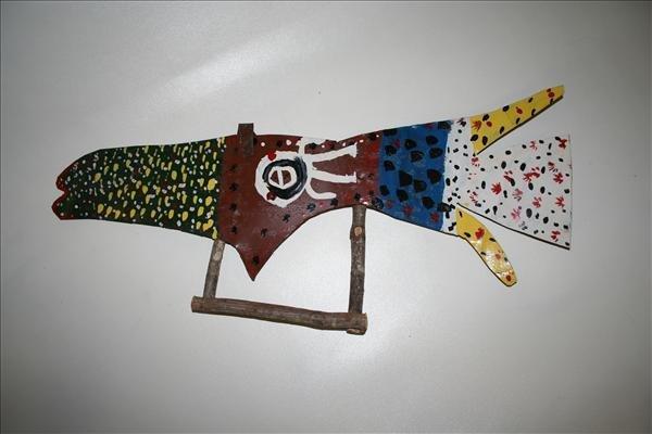 "1016: Outsider Art- James Asnie ""Fish"" paint on metal,"