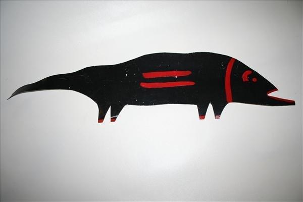 """1018: Outsider Art- R.A. Miller """"Black Animal"""" paint on"""