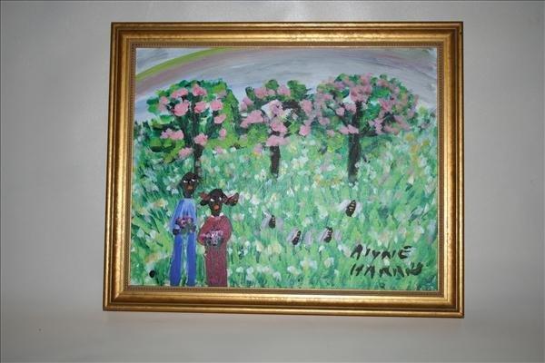 """1020: Outsider Art- Alyne Harris """"Children"""" paint on ca"""