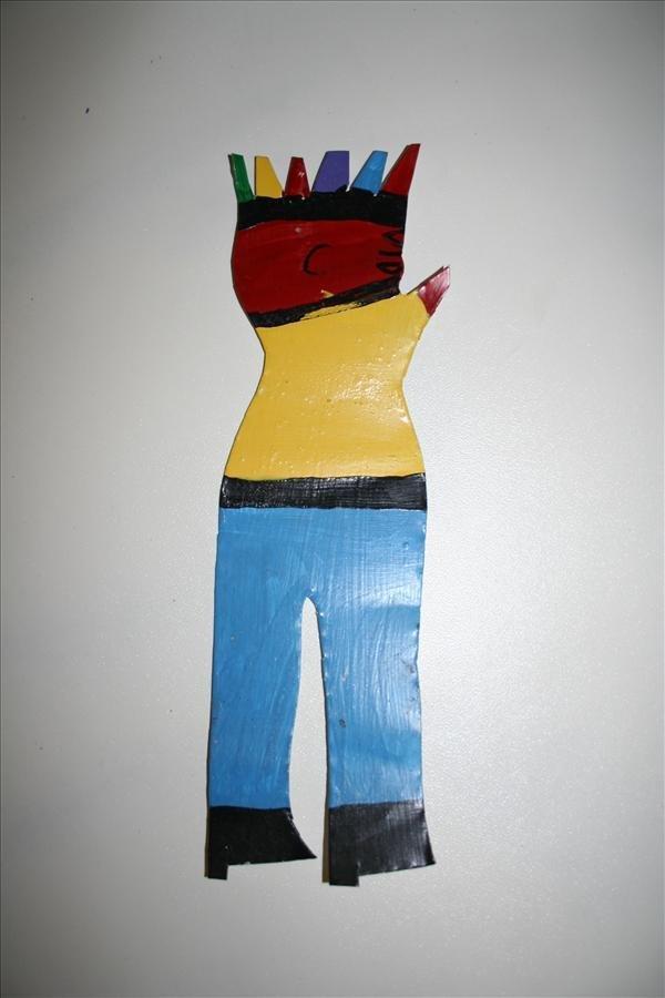 "1022: Outsider Art- R.A. Miller ""Man"" paint on tin, pie"