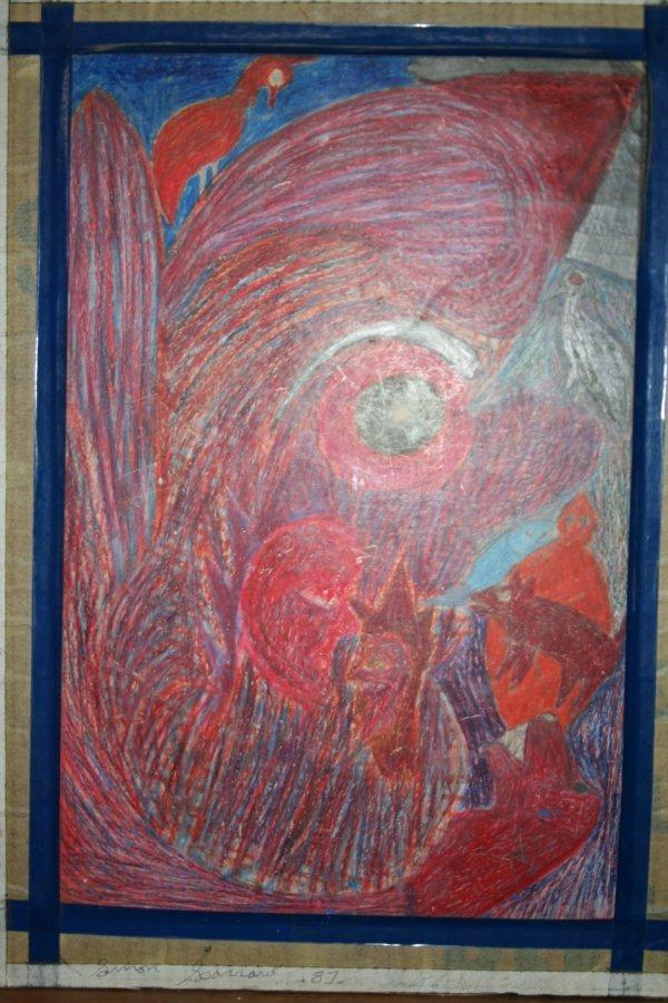 """1089: Outsider Art-Simon Sparrow """"Sparrow 1987"""" oil pas"""