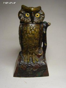 Owl Turns Head, Mechanical Bank, J.E. Stevens Co.