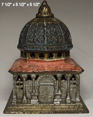 2038: Columbia cast iron bank with original combination