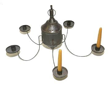 2564: Tin 5 candlelight chandelier, probably Pennsylvan