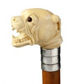 Carved Ivory Dog Cane/Walking Stick