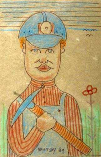"5: Jack Savitsky-""Coal Miner"". 1989. Crayon and marker"