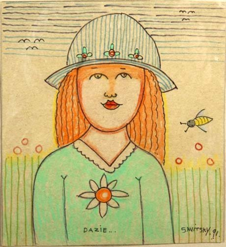 "6: Jack Savitsky-""Dazie"". 1991. Crayon and marker on ca"