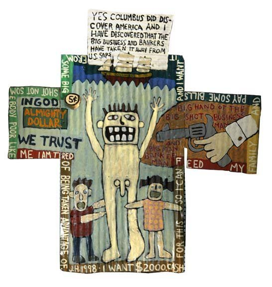 "10: Jessie Hickman-""Columbus"". Paint on tin, signed 199"