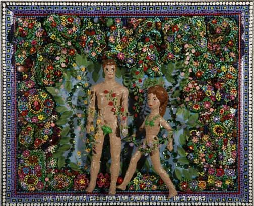 "15: Elayne Goodman-""Eve Decorates Eden"". Mixed media on"