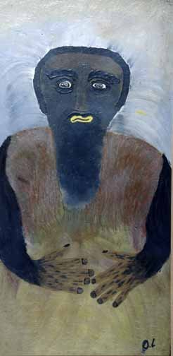 "17: O.L. Samuels ""Man"". Paint on particle board, signed"