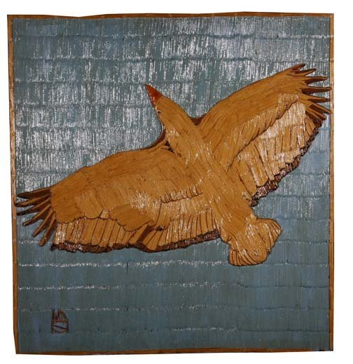 "19: Wesley Stewart-""Eagle"". Paint on toothpick construc"
