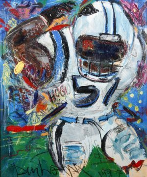 "22: Mark Dunham- ""Football Player"". Paint on board.  Pi"