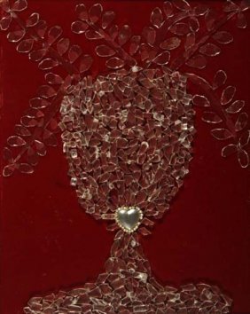 "Sylvanus Hudson-""Heart Vase"". Glass On Velvet Board"