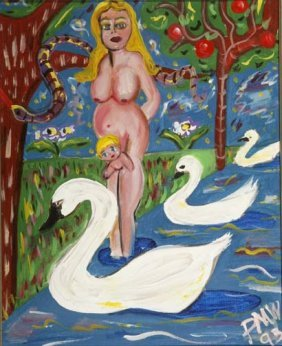 "Pauline Willis-""Mother With Swans"". Paint On Canvas"