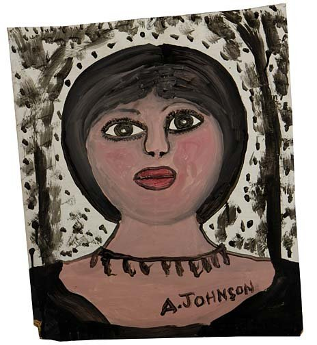"32: Anderson Johnson-""Woman"". Paint on pressboard, sign"