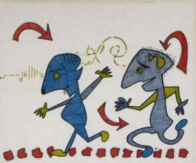"Jeff Hirsch-""2 Blue Men"". Marker On Paper. Formerly"