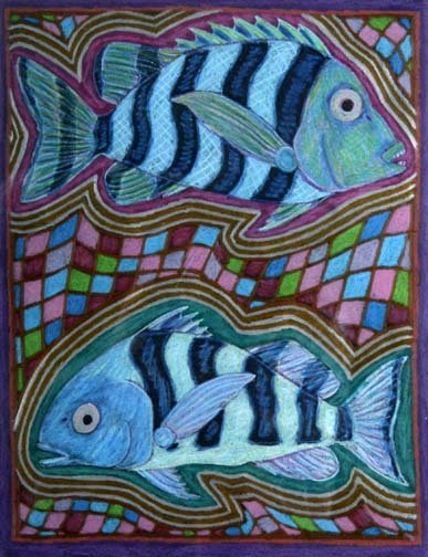 "40: Steve Shepard-'Two Fish"". Pastel on paper. Piece is"