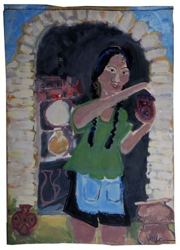 "42: Sabra Wolfe-""Potter"". Paint on panel, signed and da"