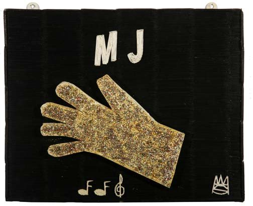 "48: Wesley Stewart-""Micheal Jackson Glove'. Paint and g"