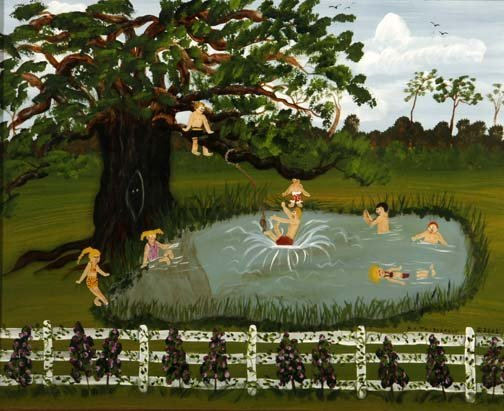 """55: Barbara Thibodeaux-""""Swimming Hole"""". Paint on canvas"""