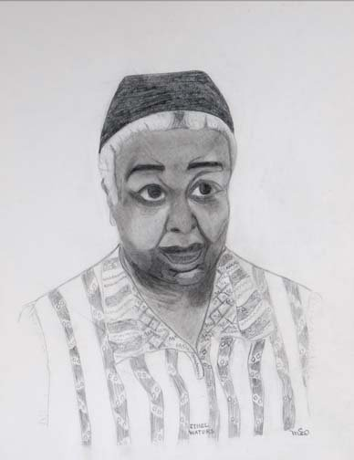 """56: Mary Anderson Cayce-""""Ethel Waters"""". Pencil on paper"""