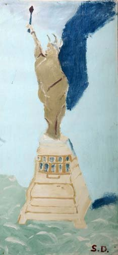 "57: Sam Doyle-""Statue Of Liberty"". Paint on window shad"