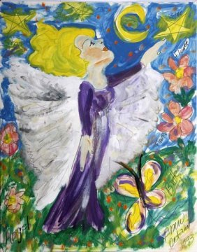 """Pauline Willis-""""Angel"""". Paint On Poster, Signed And"""