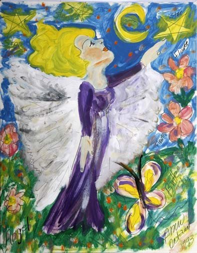 """58: Pauline Willis-""""Angel"""". Paint on poster, signed and"""