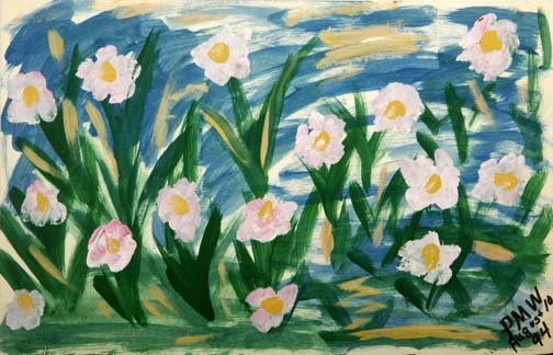 """59: Pauline Willis-""""Flower Bed"""". Paint on poster, signe"""