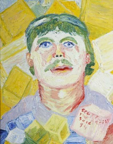"60: Scotty Higgins-""The Artist Scene"". Oil on canvas, s"