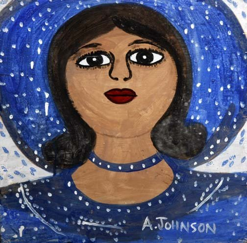 """61: Anderson Johnson-""""Women"""". Paint on wood, signed. Pi"""