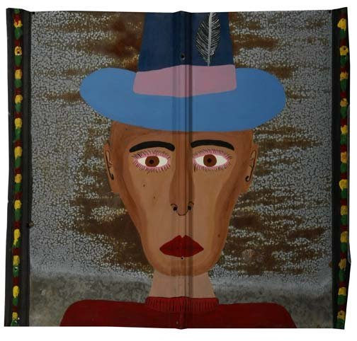 """63: Chris Brown-""""Man In Hat"""". Paint on roofing tin, sig"""