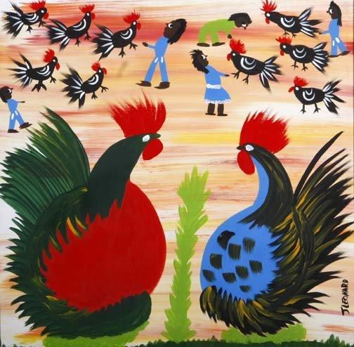 "64: Juanita Leonard-""Roosters"". Paint on panel, signed."